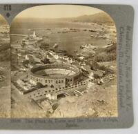 Stereoview Keystone View Co 33336 The Plaza De Toros And Harbor Malaga Spain (O)