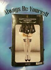womens/teen girls over knee high socks stockings White/skull halloween costume