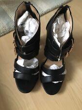 Catwalk Black Sexy Block Heel Peep Toe High Heel Strap Sandal Size 5