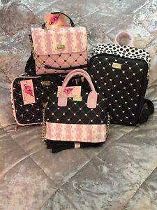 Betsey Johnson Hearts Backpack Crossbody,s W Matching Cosmetic Bag 4 Bundle NWT