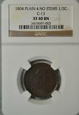 1804 Draped Bust half cent, NGC XF40
