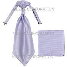 New Vesuvio Napoli Men's Polyester Ascot Cravat Necktie Hankie Stripes Lavender