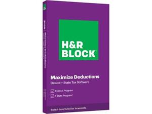 H&R Block Deluxe Tax Software + State 2020, PC Windows/Mac (Key Card)