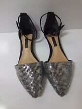 SCHUTZ Black Suede Silver Chainmaille Ankle Strap Flat Shoes 6B NEW NO BOX
