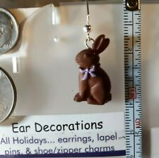Easter Bunnies Earrings Chocolate or Cream Rabbits Silver hooks Ear Decorations