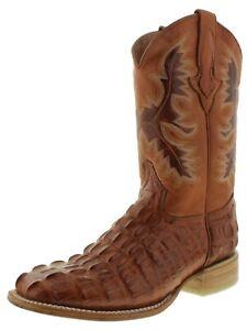 Mens Cowboy Boots Cognac Crocodile Tail Print Leather Square Toe