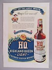 Highland Queen Scotch Whiskey PRINT AD - 1940