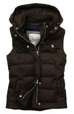 £128 ABERCROMBIE & FITCH BROWN PADDED GILET BOMBER WAISTCOAT VEST S SMALL 6 2 34