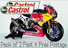 Castrol Racing Super Bike Pegatina Calcomanía De Carreras TT SUPER BIKE Racing Pack de 2