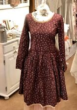 rhum raisin Kleid Winter Floral Neu Rot Vintage Gr.S Lagenlook