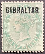 1886 Gibraltar OVERPRINT on Bermuda 1/2p Issue Scott# 1 Mint/H/OG, Very Fine