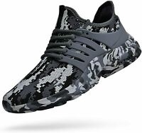 Feetmat Men's Shoes Fabric Low Top Lace Up Fabric, Camouflage Grey, Size 12.0