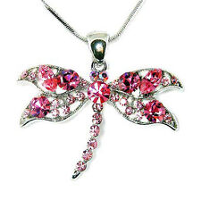 ~Pink Dragonfly made with Swarovski Crystal Rose Bridal Wedding Jewelry Necklace