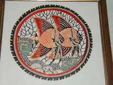 UNUSUAL TROPICAL FISH FRAMED ART, COLORFUL PIERCED,  CUT DECORATION, MUST SEE