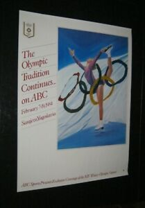 Original 1984 ABC TELEVISION SARAJEVO WINTER OLYMPICS POSTER Ice Skating Style