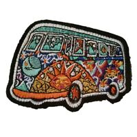 Hippy CamperVan Camper Retro Iron On Patch Sew on Embroidered New