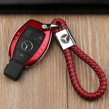 Mercedes Key FOB Cover Holder CLK, CLS, G,E,A series etc RED + Leather Cord