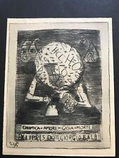ex libris di Franco Rognoni per Giorgio Balbi 1947 puntasecca