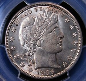 1906 D BARBER HALF PCGS MS 62 LUSTROUS WHITE WITH A TOUCH OF HAZE ON THE CHEEK