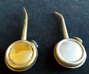 PAIR OF SMALL VINTAGE BRASS/METAL BANJO OIL CANS