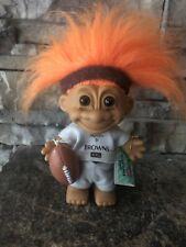 "Team NFL Good Luck Troll By Russ! 4"" Orange Hair Brown Eyes! Browns! Tag & Footb"