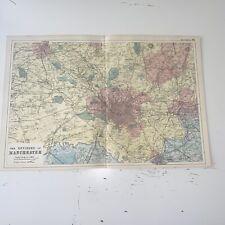 c1889 Manchester Environs British Isles Map Bacon Antique Vgc