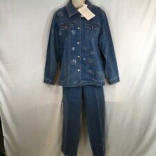 NEW Quacker Factory Rhinestone Heart Embellished Denim 2 Pc Jacket Set Medium