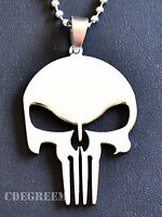361L Stainless Steel Punisher Skull Men Women Pendant w Chain Necklace Unique