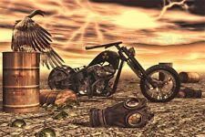 HARLEY DAVIDSON CHOPPER MOTORCYCLE SURREAL NUCLEAR GAS MASK APOCALYPSE ART PRINT