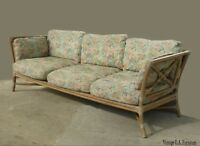 Vintage Mid Century Modern McGuire Bamboo Sofa Settee Leather Straps by McGuire