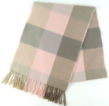 "Scarf Cashmere Scotland Pink Gray Plaid Fringed 63"" x 12"""