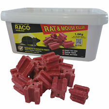 50 x 30g RACO POISON BLOCK BAIT - RODENT MICE MOUSE RAT - PROFESSIONAL STRENGTH