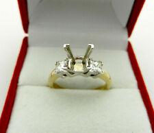 PRINCESS CUT Semi Mount 3 Stone DIAMOND 0.60 tcw Engagement RING in 14k GOLD