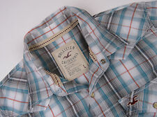 P5000 HOLLISTER SHIRT TOP ORIGINAL PREMIUM CHECKED POPPERS size L