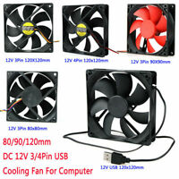 USB 12V Computer Case Mini Cooling Fan 80/90/120mm PC CPU Cooler Fans 3/4 Pin