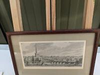 Antique framed engraving vintage engraving C1850 TC300718O