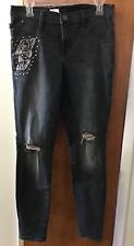 NWT Rock & Republic Women's 12 Jeans Mid Rise Legging Distressed Embroidered