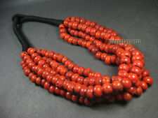 N4069 Tribal FASHION strand RED coral glass beads Ethnic Runway NECKLACE TIBETAN