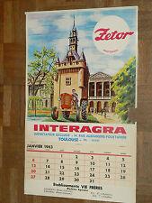 Calendrier Tracteur ZETOR 1963 MOTOKOV Tractor Traktor affiche calendar poster