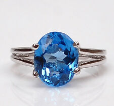 1.30Ct Oval Cut 100% Natural Blue Topaz In 925 Sterling Silver Women's Ring