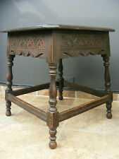 antique carved solid oak occasional table / hall / side / table