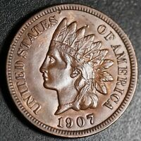 1907 INDIAN HEAD CENT - With LIBERTY & Near 4 DIAMONDS - AU UNC