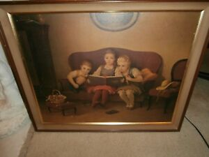 RARE ANTIQUE PAINTING LITHOGRAPHS OF THREE CHILDRENS READING ABOOKBYAUGUOTE ALBO