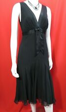 TED BAKER Special Occasion black bias cut/high waist/bow/silk dress Size 2 UK 10
