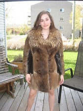 MUST HAVE HOBO MUSKRAT FUR COAT COLLAR RACCOON SIZE 6 /7
