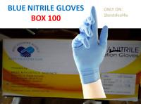 100 BLUE DISPOSABLE NITRILE POWDER & LATEX FREE GLOVES | SIZE- MEDIUM | F.S