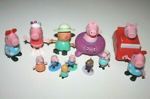 Lot of 12 Peppa Pig & Friends Mini Figurine Set Toy Action Figures Kinder