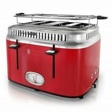 Russel Hobbs | Retro 4-Slice Red Stainless Steel Toaster with Timer | Tr9250Rdr