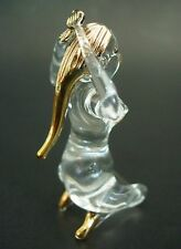 Glass LADY GIRL Naked Painted Golden  Hair Curio Glass Glassware Ornament Gift