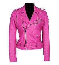 Jessica Alba caliente rosa elegante diseñador recortada chaquetas Biker Informal Cuero